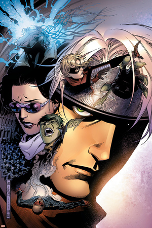 Young Avengers No.11 Cover: Hulkling, Stature, Bishop, Kate, Shepherd, Thomas and Patriot Stretched Canvas Print