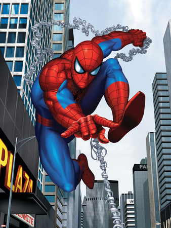 Spider-Man In the City Stretched Canvas Print