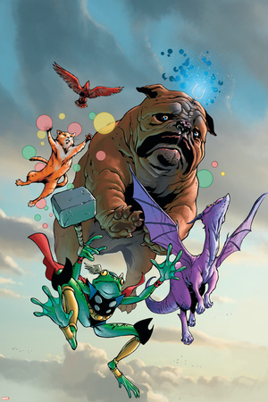 Lockjaw and The Pet Avengers No.1 Cover: Lockjaw, Lockheed, Throg, Redwing and Hairball Stretched Canvas Print
