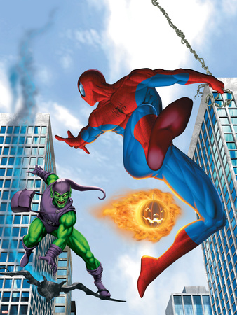 Spider-Man and Green Goblin Fighting in the City; Throwing Flaming Pumpkin Stretched Canvas Print