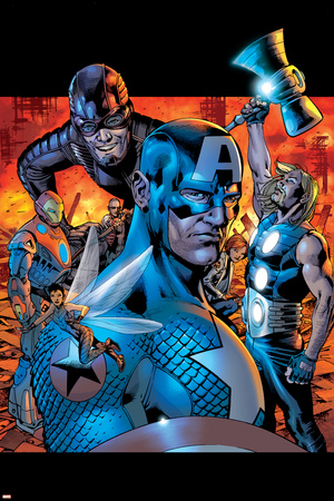 Ultimates No.13 Cover: Wasp, Captain America, Thor, Giant Man, Iron Man and Ultimates Stretched Canvas Print
