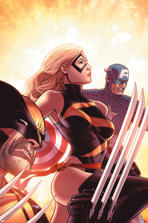 New Avengers No.17 Cover: Ms. Marvel, Captain America and Wolverine Stretched Canvas Print