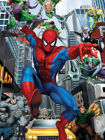 Spider-Man, Doctor Octopus, Green Goblin, Vulture, Black Cat, Electro, Lizard, Rhino and Sandman Stretched Canvas Print