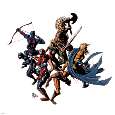 Dark Avengers No.12 Cover: Wolverine, Iron Patriot, Sentry, Spider-Man, Hawkeye, Ms. Marvel & Ares Stretched Canvas Print