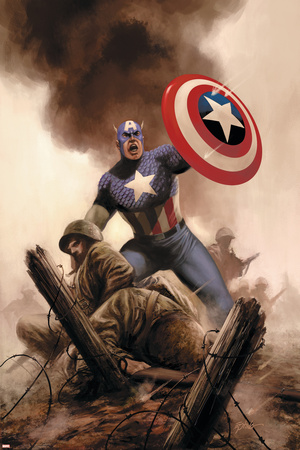 Captain America Theater Of War: America The Beautiful No.1 Cover: Captain America Stretched Canvas Print