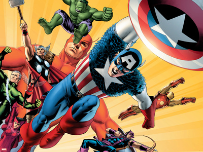 Fallen Son: The Death Of Captain AmericaNo.5 Group: Captain America Stretched Canvas Print