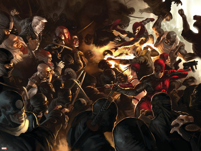 Daredevil No.100 Cover: Daredevil, Elektra, Luke Cage, Iron Fist and Spider-Man Stretched Canvas Print