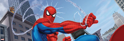 Spider-Man and Kraven the Hunter Fighting in the City Stretched Canvas Print