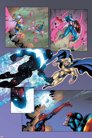 New Thunderbolts No.14 Group: Photon, Sentry, Captain America and Songbird Stretched Canvas Print