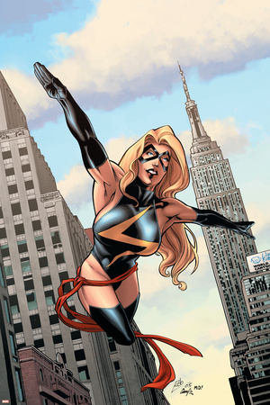 Giant Size Ms. Marvel No.1 Cover: Ms. Marvel Fighting Stretched Canvas Print