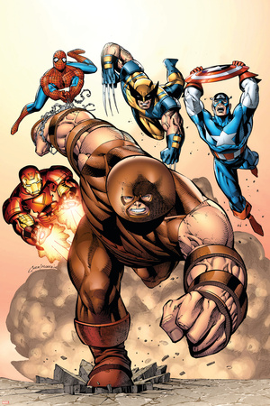 Marvel Two-In-One No.7 Cover: Juggernaut, Wolverine, Captain America, Spider-Man and Iron Man Stretched Canvas Print