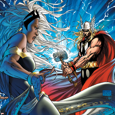 Black Panther No.25 Cover: Thor and Storm Stretched Canvas Print