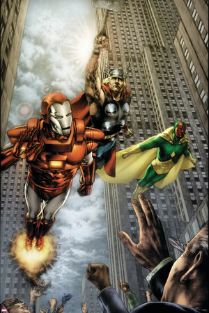 Marvels: Eye Of The Camera No.4 Cover: Iron Man, Thor and Vision Stretched Canvas Print