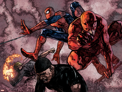 Daredevil No.60 Group: Daredevil, Spider-Man, Iron Fist, and Luke Cage Fighting Stretched Canvas Print