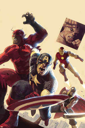 The Mighty Avengers No.12 Cover: Captain America, Giant Man, Iron Man and Thor Stretched Canvas Print