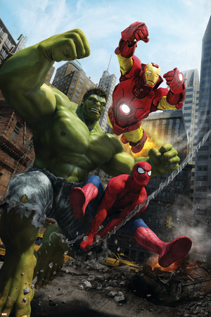 Marvel Adventures Iron Man Special Edition No.1 Cover: Iron Man, Hulk and Spider-Man Stretched Canvas Print
