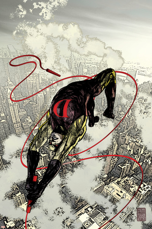 Daredevil No.66 Cover: Daredevil Fighting and Flying Stretched Canvas Print