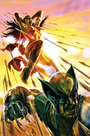 Dark Reign: Elektra No.4 Cover: Elektra and Wolverine Stretched Canvas Print