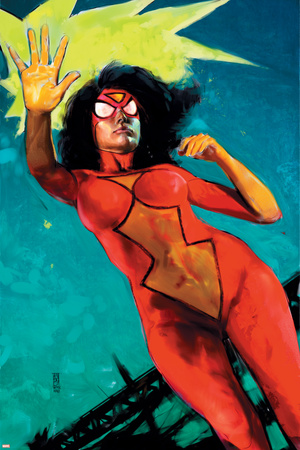 Spider-Woman No.6 Cover: Spider Woman Stretched Canvas Print