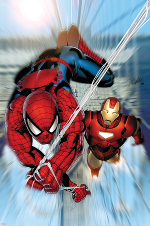 Invincible Iron Man No.7 Cover: Iron Man and Spider-Man Stretched Canvas Print