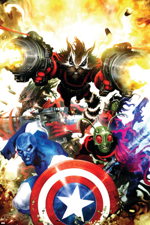 Guardians Of The Galaxy No.7 Cover: Rocket Raccoon, Major Victory and Bug Stretched Canvas Print