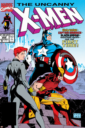 Uncanny X-Men No.268 Cover: Black Widow, Wolverine and Captain America Stretched Canvas Print