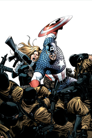 Captain America No.3 Cover: Captain America, Carter and Sharon Stretched Canvas Print