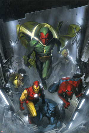 Secret Invasion No.2 Cover: Vision, Iron Man, Spider-Man, Luke Cage and Beast Stretched Canvas Print
