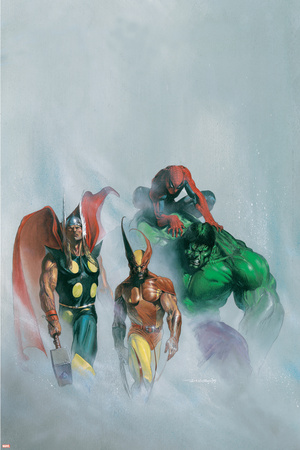 Secret War V1 No.1 Group: Wolverine, Thor, Hulk and Spider-man Stretched Canvas Print
