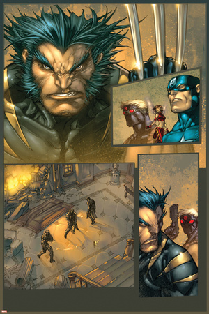 Ultimates 3 No.3 Headshot: Wolverine Stretched Canvas Print