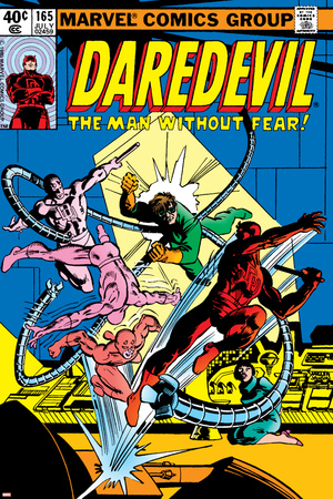 Daredevil No.165 Cover: Daredevil and Doctor Octopus Crouching Stretched Canvas Print