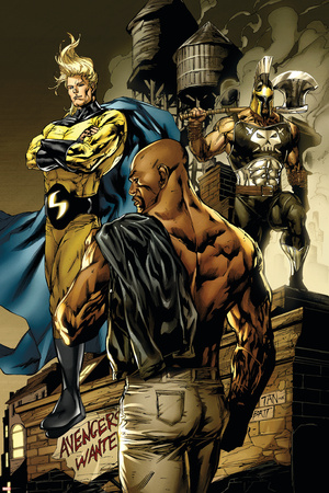 New Avengers No.49 Cover: Sentry, Cage, Luke and Ares Stretched Canvas Print