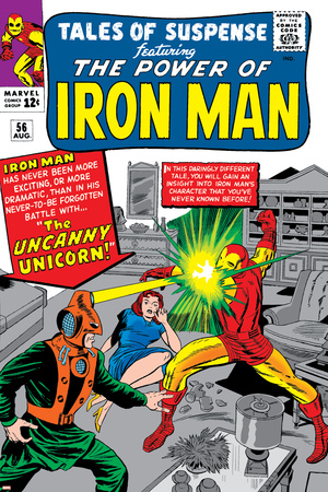 Tales Of Suspense No.56 Cover: Iron Man and Unicorn Fighting Stretched Canvas Print