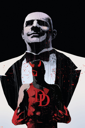 Daredevil Noir No.4 Cover: Daredevil and Kingpin Stretched Canvas Print