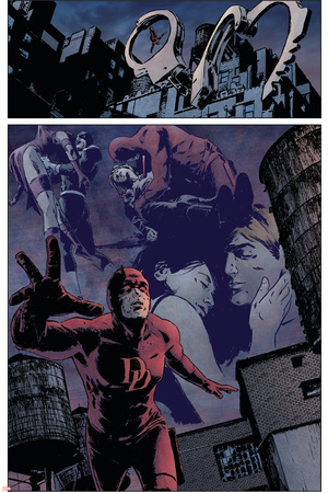 Daredevil No.98 Group: Daredevil, Elektra and Bullseye Stretched Canvas Print
