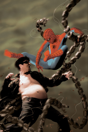 Spider-Man/Doctor Octopus: Year One No.5 Cover: Spider-Man and Doctor Octopus Stretched Canvas Print
