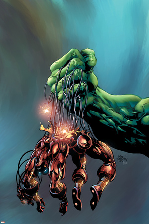 Incredible Hulk No.73 Cover: Hulk and Iron Man Stretched Canvas Print