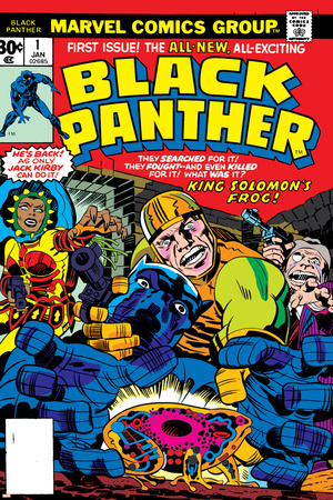 Black Panther No.1 Cover: Black Panther, Little, Abner and Princess Zanda Fighting Stretched Canvas Print