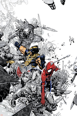 The Amazing Spider-Man No.555 Cover: Spider-Man and Wolverine Stretched Canvas Print