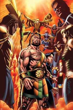 Incredible Hercules No.129 Cover: Hercules, Cho, Amadeus, Banshee, Vision, Ant-Man and Wasp Stretched Canvas Print