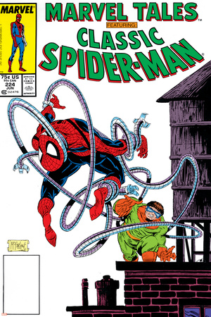 Marvel Tales: Spider-Man No.224 Cover: Spider-Man and Doctor Octopus Charging Stretched Canvas Print