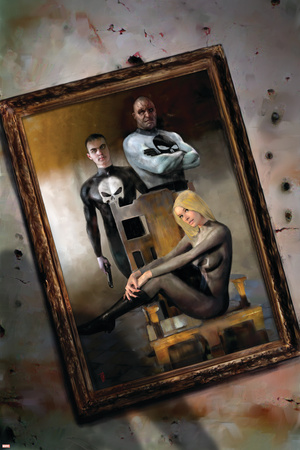 Punisher War Journal No.19 Cover: Punisher and Black Widow Stretched Canvas Print