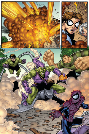Marvel Adventures Spider-Man No.12 Group: Spider-Man, Green Goblin, Sandman and Doctor Octopus Stretched Canvas Print