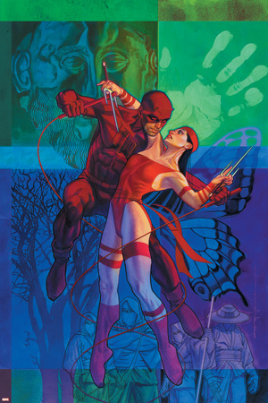 Elektra No.35 Cover: Daredevil and Elektra Fighting and Shooting Stretched Canvas Print