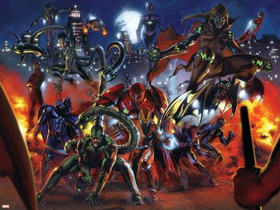 Secret War No.3 Group: Scorpion, Shocker, Hobgoblin, Doctor Octopus and Grim Reaper Stretched Canvas Print