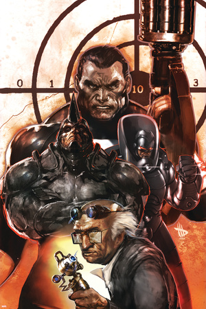 Punisher War Journal No.26 Cover: Punisher and Rhino Stretched Canvas Print