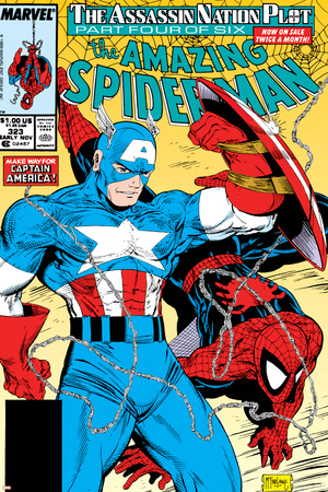 Amazing Spider-Man No.323 Cover: Captain America and Spider-Man Stretched Canvas Print
