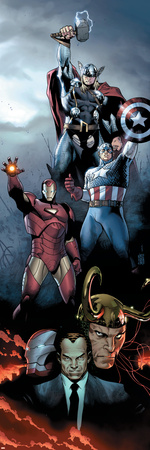Siege No.1 Cover: Iron Man, Captain America and Thor Stretched Canvas Print