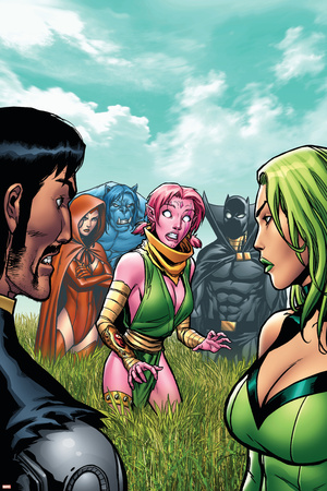 Exiles No.6 Cover: Blink, Polaris, Scarlet Witch, Black Panther and Beast Stretched Canvas Print