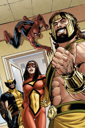 Assault on New Olympus Prologue No.1 Group: Hercules, Spider Woman, Spider-Man and Wolverine Stretched Canvas Print